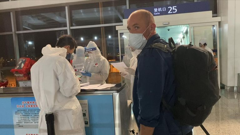 Sky's Tom Cheshire and the team were travelling to Bejing from Seoul
