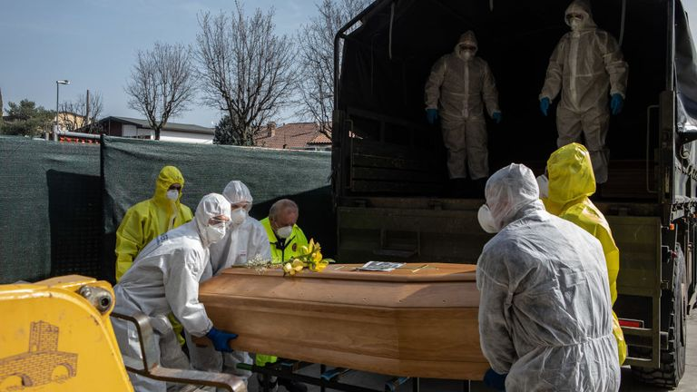 The Italian army are bringing coffins out of Bergamo in northern Italy as its morgue and crematorium struggle to cope with the number of deaths