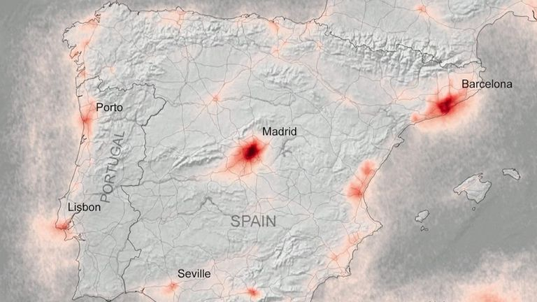 Air pollution has decreased in urban areas across Europe during lockdowns to combat the coronavirus, new satellite images show. Spain more polluted before pandemic