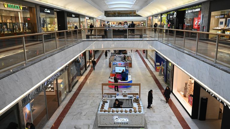 The Brent Cross shopping centre with few customers in north London, Britain, 17 March 2020. Britain's Prime Minister Boris Johnson has urged UK citizens to avoid unnecessary social contacts, to work from home where possible, and to stay away from pubs and restaurants. Several European countries have closed borders, schools as well as public facilities, and have cancelled most major sports and entertainment events in order to prevent the spread of the SARS-CoV-2 coronavirus causing the Covid-19 d