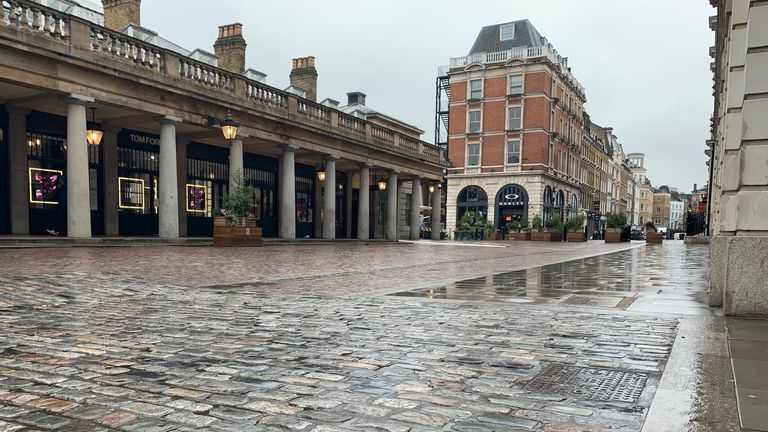 Empty Covent Garden in London