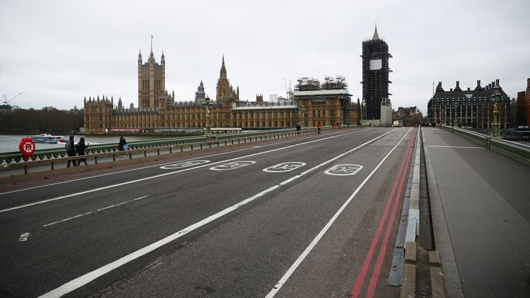 General view of a empty Westminster Bridge as the number of coronavirus (COVID-19) cases grow around the world, in London, Britain, March 18, 2020. REUTERS/Hannah McKay
