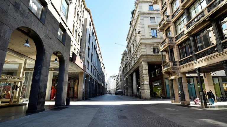 A view of an empty street on the second day of an unprecedented lockdown across all of the country, imposed to slow the outbreak of coronavirus, in Milan, Italy March 11, 2020. REUTERS/Flavio Lo Scalzo