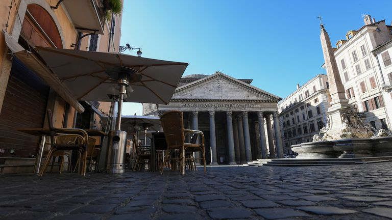 A closed bar next to the Pantheon and the Piazza della Rotonda are pictured, on the third day of an unprecedented lockdown across of all Italy imposed to slow the outbreak of coronavirus, in Rome, Italy, March 12, 2020. REUTERS/Alberto Lingria