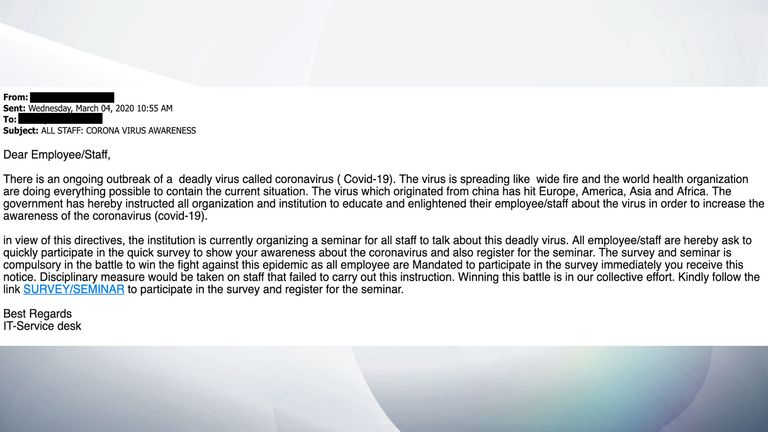 The fake email seen by Sky News which has been sent to staff