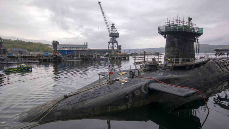 Vanguard-class submarine HMS Vigilant, one of the UK's four nuclear warhead-carrying submarines at HM Naval Base Clyde, Faslane, west of Glasgow, Scotland on April 29, 2019. - A tour of the submarine was arranged to mark fifty years of the continuous, at sea nuclear deterrent. (Photo by James Glossop / POOL / AFP) (Photo credit should read JAMES GLOSSOP/AFP via Getty Images)