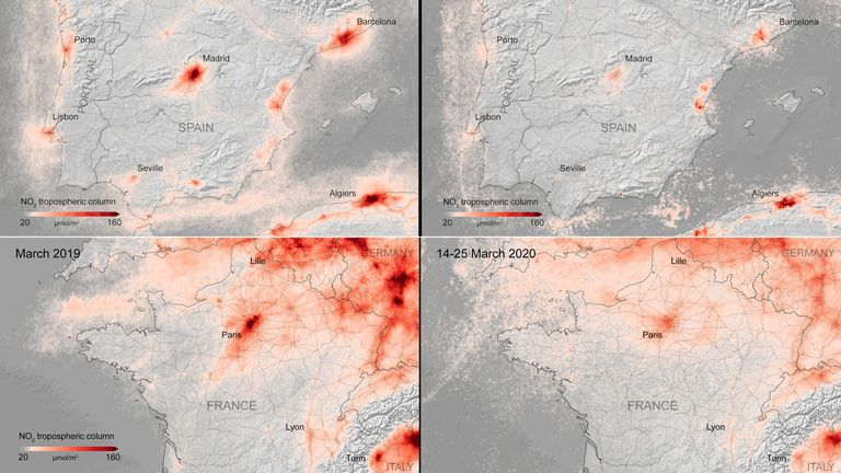 The average nitrogen dioxide concentrations from air pollution across France and Spain in March (L) and March 14 to 25, 2020