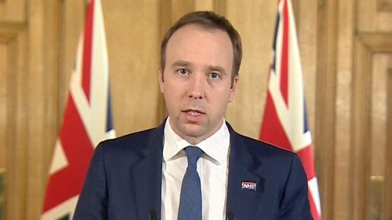 Health Secretary Matt Hancock has said the government is seeking 250,000 NHS volunteers to help during the COVID-19 pandemic