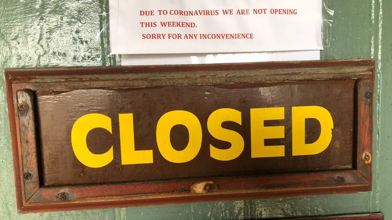 A sign on the door of The Lighthouse Pottery in Portpatrick, Dumfries and Galloway, which has been closed due Covid-19. PA Photo. Picture date: Sunday March 15, 2020. See PA story HEALTH Coronavirus. Photo credit should read: Michael McHugh/PA Wire