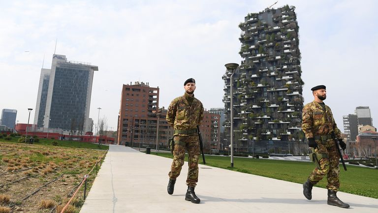 Italian army soldiers patrol streets after being deployed to the region of Lombardy to enforce the lockdown against the spread of coronavirus disease (COVID-19) in Milan, Italy, March 20, 2020. REUTERS/Daniele Mascolo