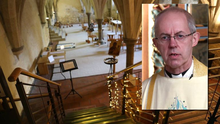 The  Archbishop of Canterbury Justin Welby's service has already been recorded in the crypt chapel at Lambeth Palace. Pic: Archbishop of Canterbury/PA
