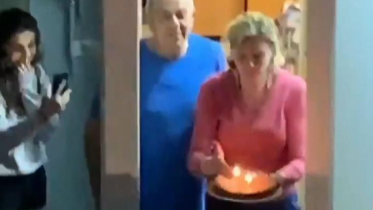 A number or residents sang happy birthday to a woman under quarantine in a show of solidarity amid the coronavirus lockdown