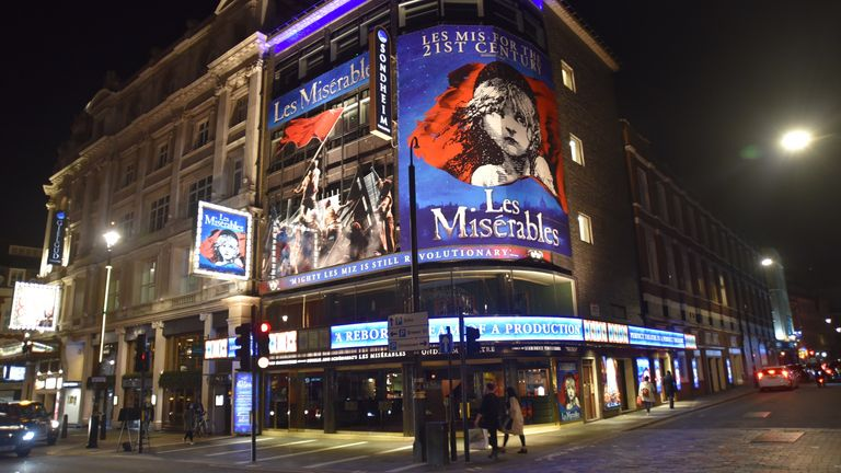 Coronavirus outbreak, London, UK - 16 Mar 2020 'Les Miserables'at the Sondheim Theatre has been canceled until further notice  16 Mar 2020