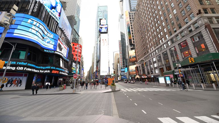 NEW YORK, NY - MARCH 18: A view of Times Square as the coronavirus continues to spread across the United States on March 18, 2020 in New York City. The World Health Organization declared coronavirus (COVID-19) a global pandemic on March 11th.  (Photo by Noam Galai/Getty Images)