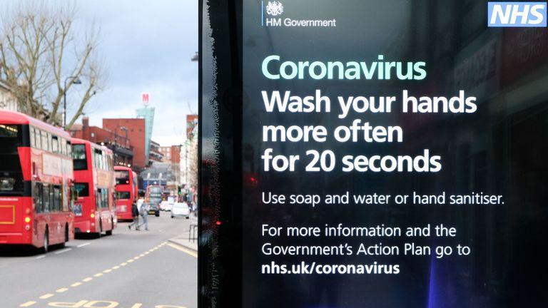 Coronavirus information billboard in Wood Green, London