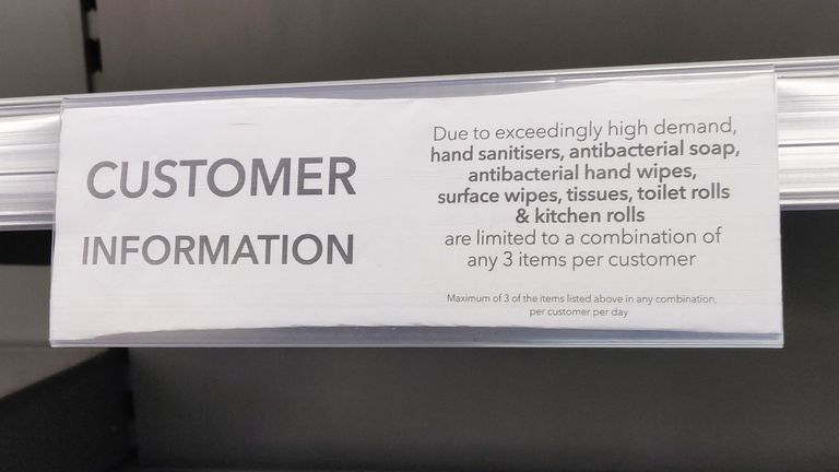 A notice in a Co-op supermarket in London outlining limits on customers purchasing toilet roll and hand sanitisers as people continue to stockpile due to coronavirus fears. PA Photo. Picture date: Friday March 13, 2020. See PA story HEALTH Coronavirus. Photo credit should read: Sophie Hogan/PA Wire