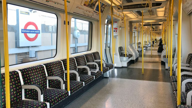 A sparsely-filled carriage on an Underground train in west London the day after Prime Minister Boris Johnson called on people to stay away from pubs, clubs and theatres, work from home if possible and avoid all non-essential contacts and travel in order to reduce the impact of the coronavirus pandemic. PA Photo. Picture date: Wednesday March 17, 2020. See PA story HEALTH Coronavirus. Photo credit should read: Martin Keene/PA Wire