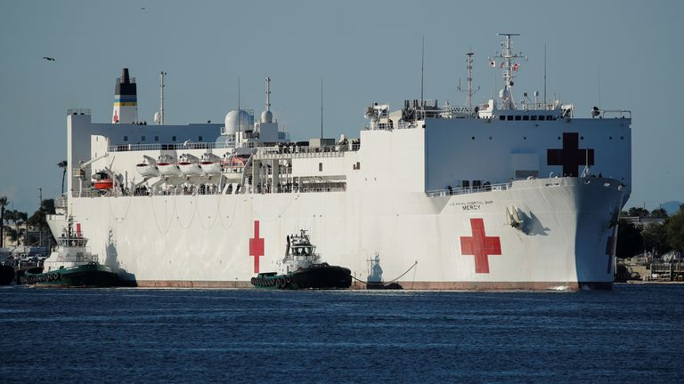 The USNS Mercy is one of two hospital ships being used to treat non-coronavirus patients