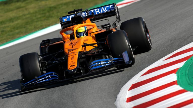 BARCELONA, SPAIN - FEBRUARY 21: Lando Norris of Great Britain driving the (4) McLaren F1 Team MCL35 Renault on track during day three of F1 Winter Testing at Circuit de Barcelona-Catalunya on February 21, 2020 in Barcelona, Spain. (Photo by Mark Thompson/Getty Images)