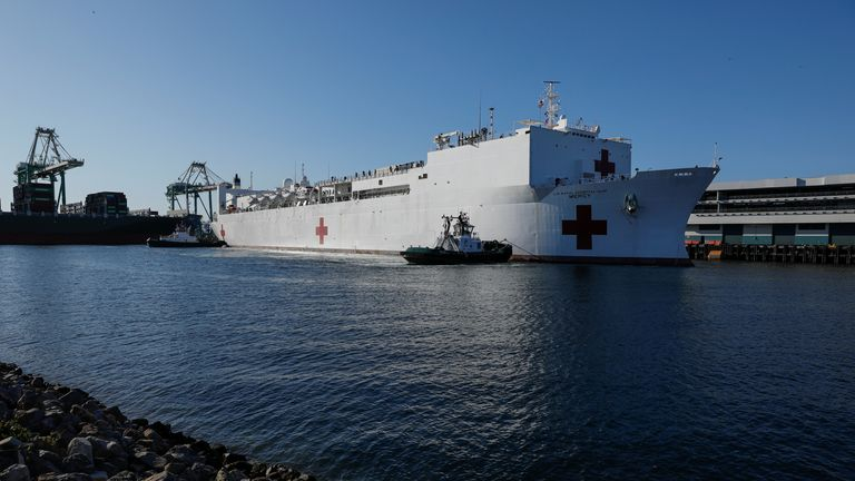The floating hospital will treat non-COVID-19 patients in an attempt to lessen the load on area hospitals in Los Angeles.