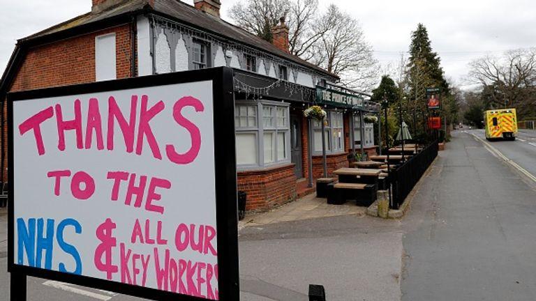 A sign at a pub in Fleet, Hampshire