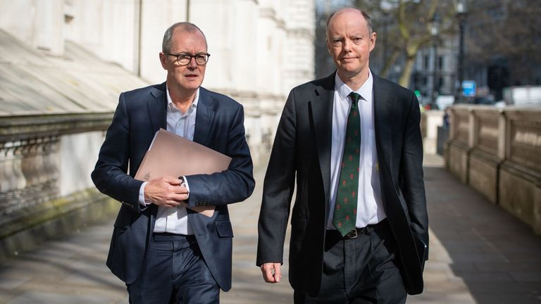Chief Medical Officer for England Chris Whitty (right) and Chief Scientific Adviser Sir Patrick Vallance (left) in Whitehall, London, ahead of a meeting of the Government's emergency committee Cobra to discuss coronavirus. PA Photo. Picture date: Monday March 16, 2020. The UK's coronavirus death toll rose to 35 with a total of 1,372 positive tests for coronavirus in the UK as of 9am on Sunday. See PA story HEALTH Coronavirus. Photo credit should read: Dominic Lipinski/PA Wire