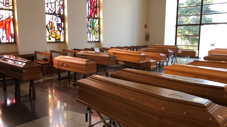 Rooms full of coffins is becoming normal in northern Italy