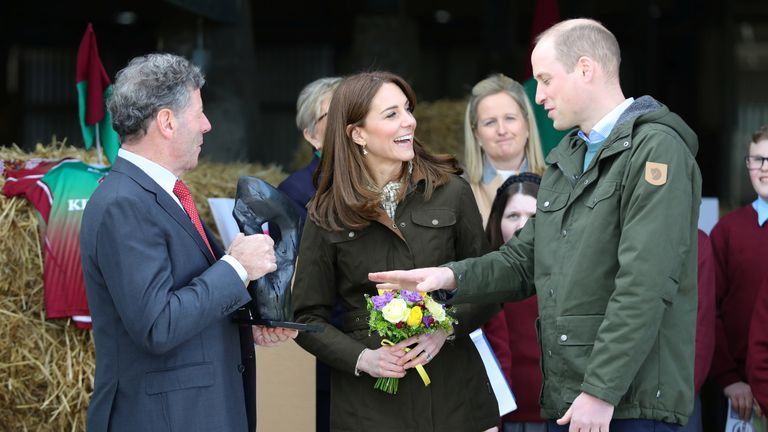 Britain's Prince William and Catherine, Duchess of Cambridge are shown bog oak during their visit the Teagasc Animal & Grassland Research Centre at Grange, County Meath, Ireland March 4, 2020. Aaron Chown/Pool via REUTERS