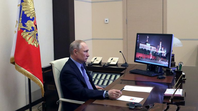 Russian President Vladimir Putin chairs a meeting with regional officials via video link at his residence outside Moscow, Russia March 30, 2020. Sputnik/Mikhail Klimentyev/Kremlin via REUTERS  ATTENTION EDITORS - THIS IMAGE WAS PROVIDED BY A THIRD PARTY.