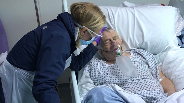 Sophia Myles is pictured visiting her father Peter in hospital shortly before his death
