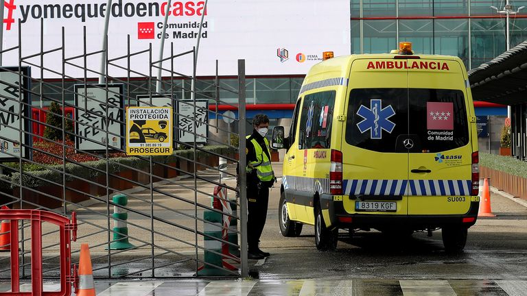 An ambulance arrives to the Ifema Fair ground where a provisional hospital for coronavirus patients is set up in Madrid, Spain. Pic: Chema Moya/EPA-EFE/Shutterstock