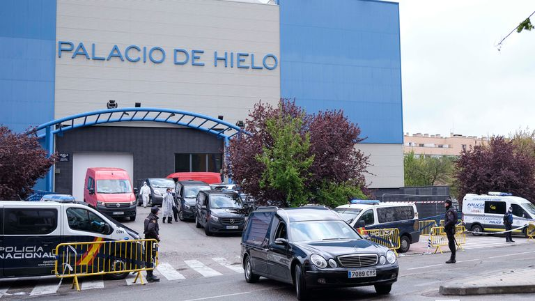 Hundreds of coronavirus victims' bodies are being stored at an ice rink in Madrid which has been turned into a temporary morgue