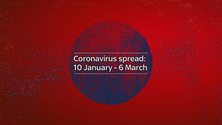 Coronavirus spread 10 January - 6 march