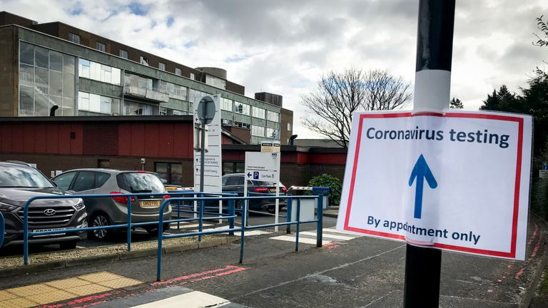 Signs for coronavirus testing at the Western General Hospital, Edinburgh.