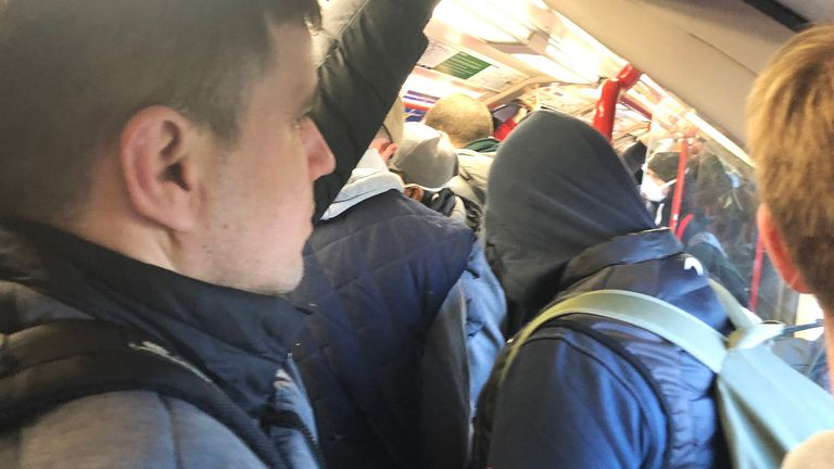 Commuters were packed in on a Tube train at Leytonstone on Monday