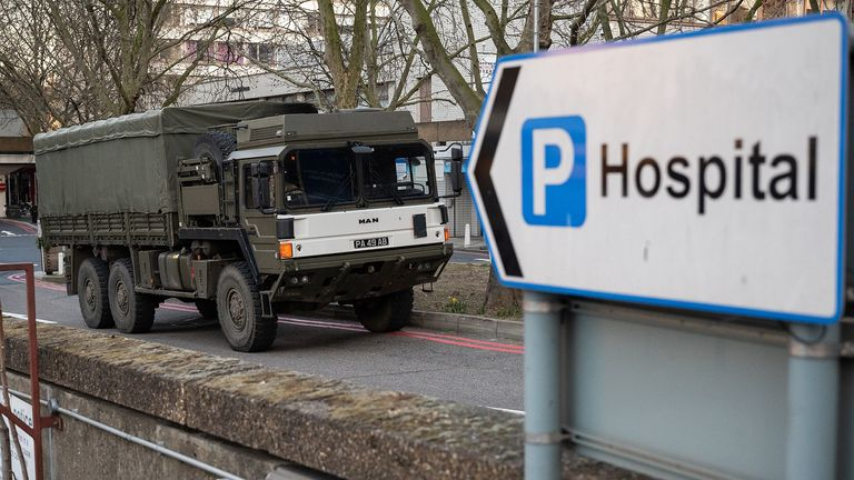 LONDON, UNITED KINGDOM - MARCH 24: A military lorry is seen as members of the 101 Logistic Brigade deliver a consignment of medical masks to St Thomas' hospital on March 24, 2020 in London, England. British Prime Minister, Boris Johnson, announced strict lockdown measures urging people to stay at home and only leave the house for basic food shopping, exercise once a day and essential travel to and from work. The Coronavirus (COVID-19) pandemic has spread to at least 182 countries, claiming over 10,000 lives and infecting hundreds of thousands more. (Photo by Leon Neal/Getty Images)