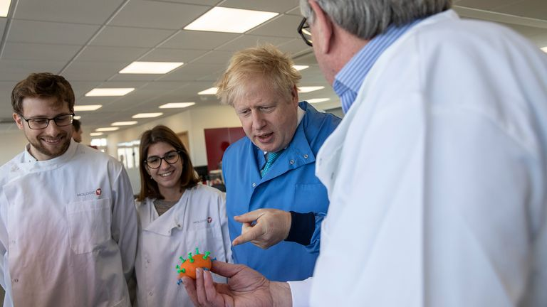 BEDFORD, ENGLAND - MARCH 06: Prime Minister Boris Johnson speaks to staff during a visit to the Mologic Laboratory in the Bedford technology Park on March 06, 2020 in Bedford, England. The Prime Minister is announcing a ..46 million funding package to help UK scientists develop testing kits and a vaccine in the fight against the Coronavirus. (Photo by Jack Hill - WPA Pool / Getty Images)