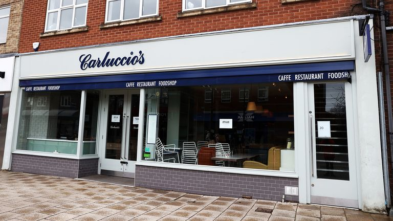A closed Carluccio restaurant in West Bridgford, Nottingham, after the company announced it had joined management, putting more than 2,000 jobs at risk.  Photo PA.  Photo date: Monday, March 30, 2020. See the history of AP HEALTH Coronavirus.  The photo credit should be: Tim Goode / PA Wire.