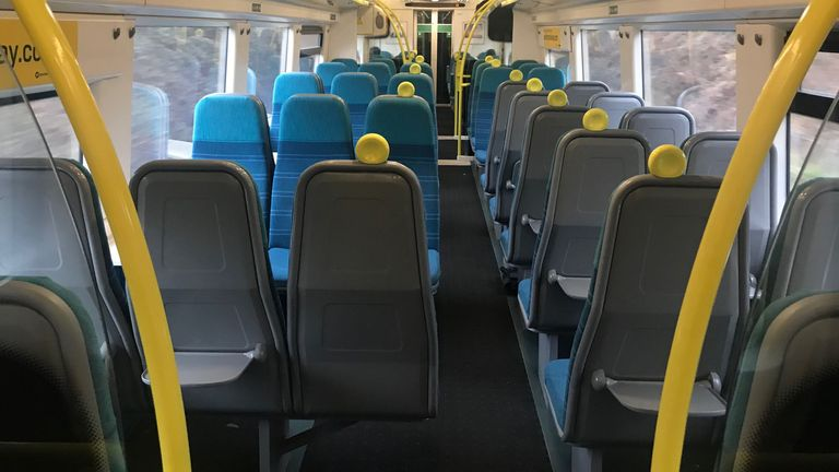 An empty carriage on a usually busy commuter train between Sussex and London on the day that emergency legislation to tackle the coronavirus outbreak will be published in Parliament. PA Photo. Picture date: Thursday March 19, 2020. See PA story HEALTH Coronavirus. Photo credit should read: Tony Watson/PA Wire