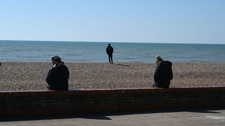 People in Brighton on their daily walk were taking social distancing seriously