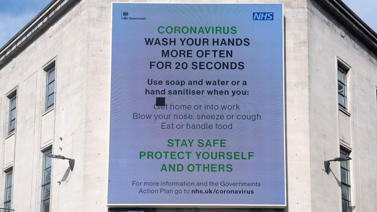 A billboard in Cardiff urges people to wash their hands regularly