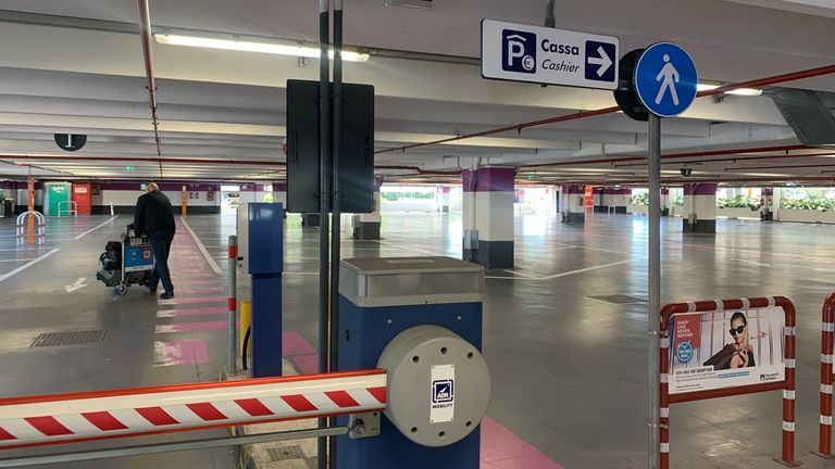 Parking bays at Rome airport after Italian government put the country into lockdown to stem the spread of COVID-19