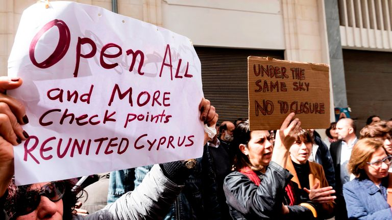 Crossing points were closed across the divided island of Cyprus