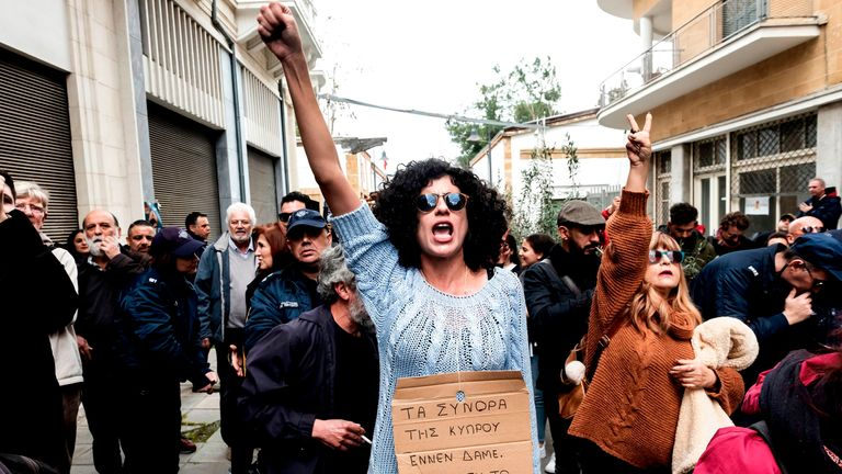 Cypriot protesters showed their opposition to the crossing point closures