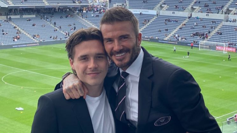 Brooklyn joined his father David at the match (credit: Instagram @DavidBeckham)