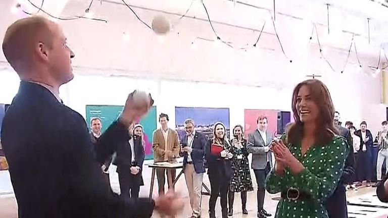 Duke of Cambridge shows off his juggling skills in Galway