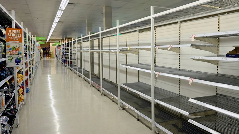 Empty shelves in supermarkets in Sydney