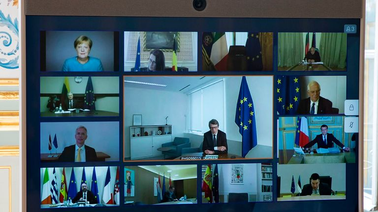A picture shows a screen of a video conference call between members of the European Council on Thursday