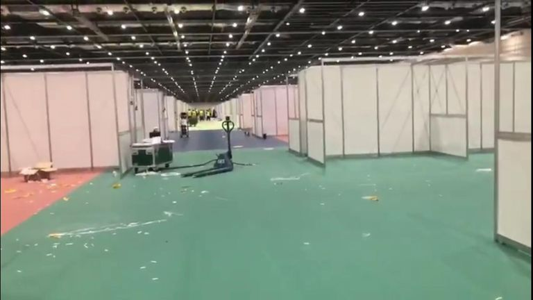 Video has emerged showing the speed of hospital bed construction going on inside the ExCeL centre in London
