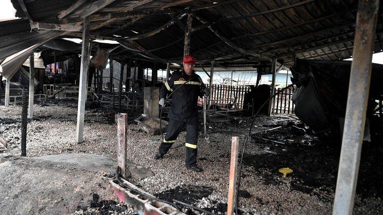 Lesbos refugee fire